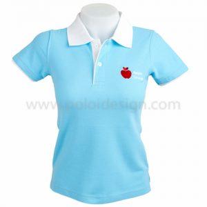 เสื้อโปโล สีฟ้า ปกขาว