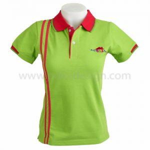 เสื้อโปโล สีเขียว ปกแดง