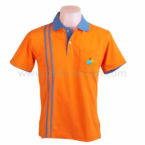 เสื้อโปโล สีส้ม แถบม่วงฟ้า