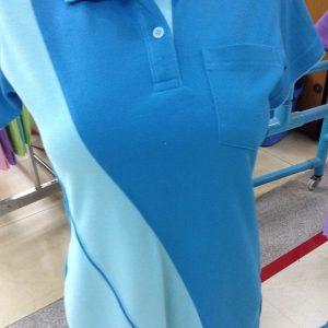 เสื้อโปโลผ้า TC ลาครอสสีฟ้าตัดต่อสีฟ้าอ่อน