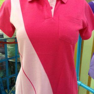 เสื้อโปโลผ้า TC ลาครอสสีชมพูบานเย็น