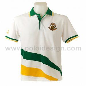 เสื้อโปโลสีขาว ลายสีเขียวแก่
