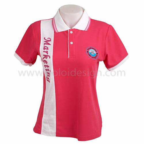 เสื้อโปโล สีชมพู ตัดต่อด้านหน้าสีขาว พร้อมปักคำว่าMarketing