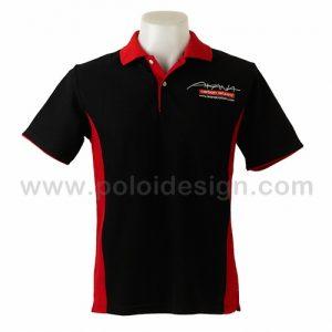 เสื้อโปโล สีดำ คาดสีแดง