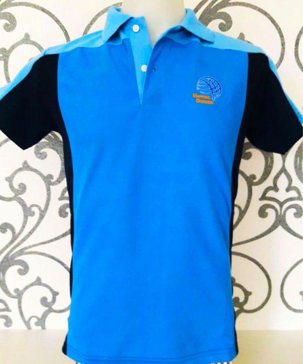 เสื้อโปโล สีน้ำเงินตัดต่อสีดำ