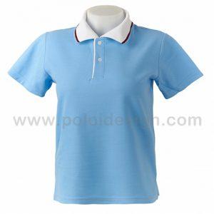 เสื้อโปโล สีฟ้าอ่อน ปกสีขาว
