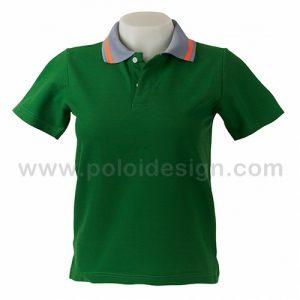 เสื้อโปโล สีเขียวเข้ม ปกเทา
