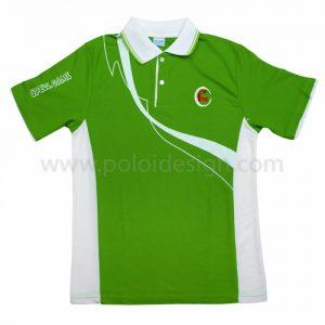 เสื้อโปโล สีเขียว ลายขาว