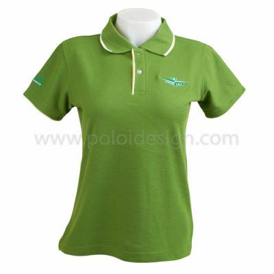 เสื้อโปโล สีเขียว ขอบขาว