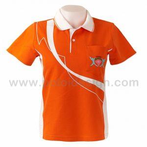 เสื้อโปโล สีส้ม คัดต่อข้างลำตัวสีขาว สกรีนด้านหน้าตามแบบ