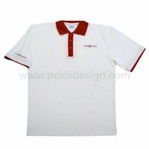 เสื้อโปโล สีขาว ขอบเลือดหมู