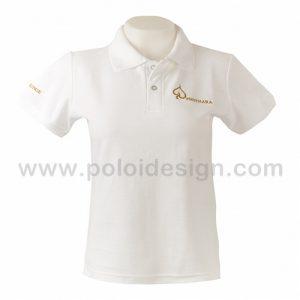 เสื้อโปโล สีขาวล้วน ปักอักษรสีทอง