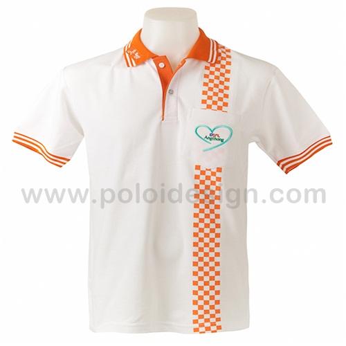 เสื้อโปโล สีขาว ปกและลายสีส้ม