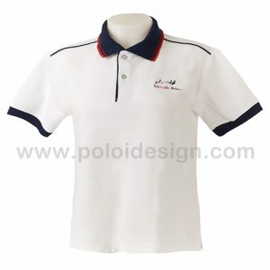 เสื้อโปโล สีขาว เดินกุ้นสีกรมท่าที่ไหล่ ปลายแขจั้มสีกรมท่า