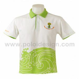 เสื้อโปโล สีขาว ลายเขียวน้ำทะเล