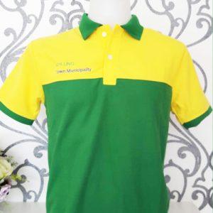 เสื้อโปโลสีเหลืองตัดต่อสีเขียว