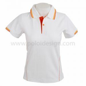 เสื้อโปโล สีขาว ปก แถบส้ม