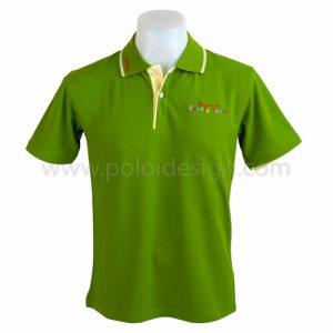 เสื้อโปโล สีเขียว แถบลายขาว