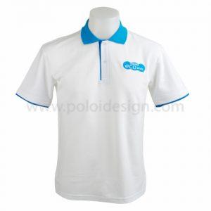 เสื้อโปโลสีขาว ปกฟ้า แถมแขนสีฟ้า โลโก้