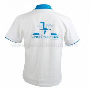 เสื้อโปโลสีขาว ปกฟ้า แถมแขนสีฟ้า โลโก้ ด้านหลัง