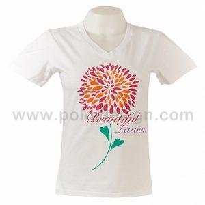 เสื้อยืดคอกลม สีขาว ลายดอกไม้