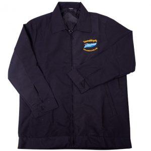 เสื้อแจ็คเก็ต สีน้ำเงิน ลายปักสีเหลือง ฟ้า J-1